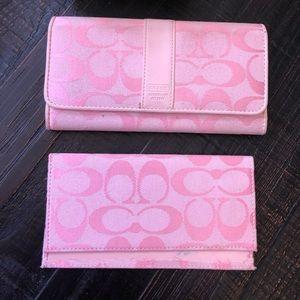 Coach Pink Signature Checkbook Wallet